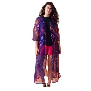 Simply Be Longline Pink and Blue Kimono